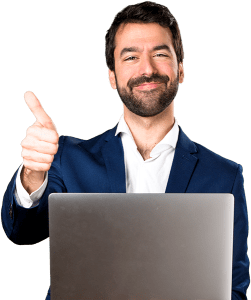 Man doing thumbs up holding laptop